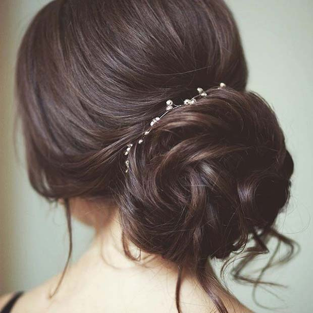 Loose Bun with Pearl Accessory Hair Idea for Prom