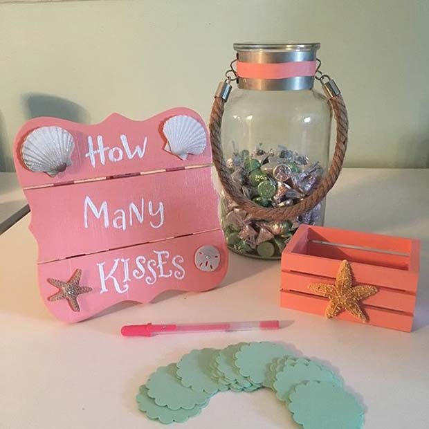 How Many Kisses Jar Idea for Bridal Shower Game