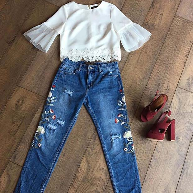 Embroidered Jeans With Ruffled Top and Heels