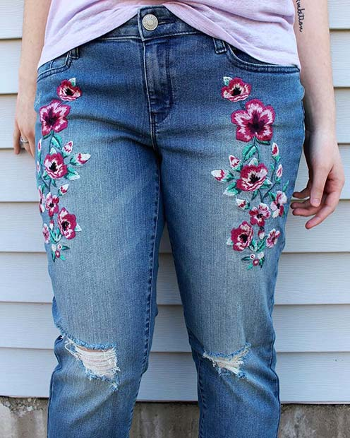 Floral Embellished Embroidered Jeans