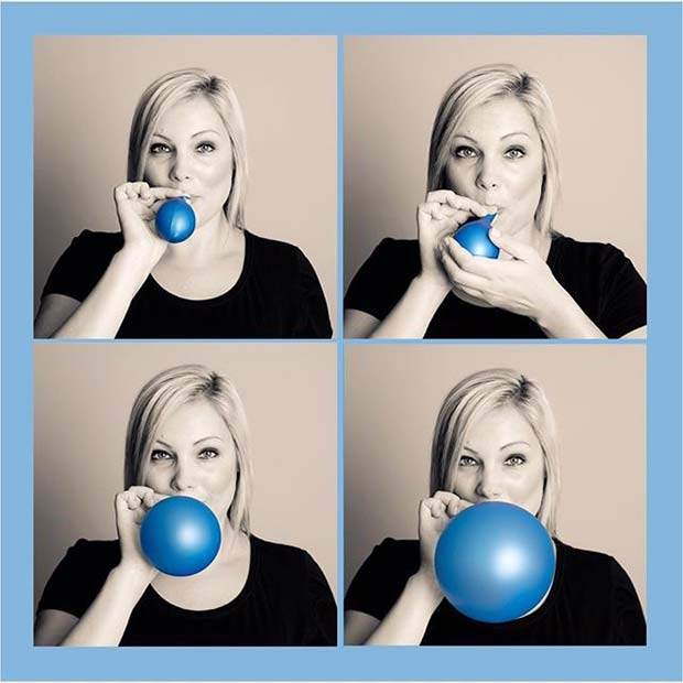 Fun Blue Balloon Photo for Gender Reveal Idea