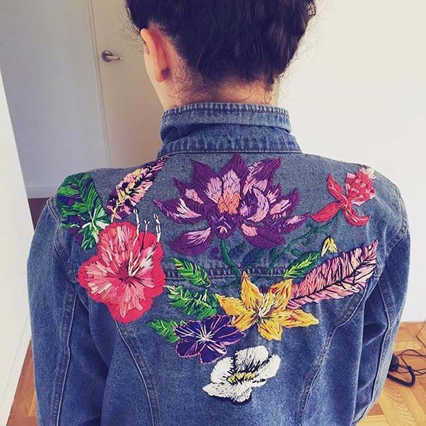 Embroidered Floral Denim Jacket