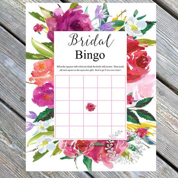 bridal bingo for bridal shower game idea