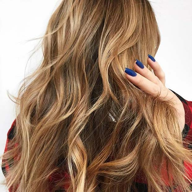 Warm Blonde Balayage Beach Waves