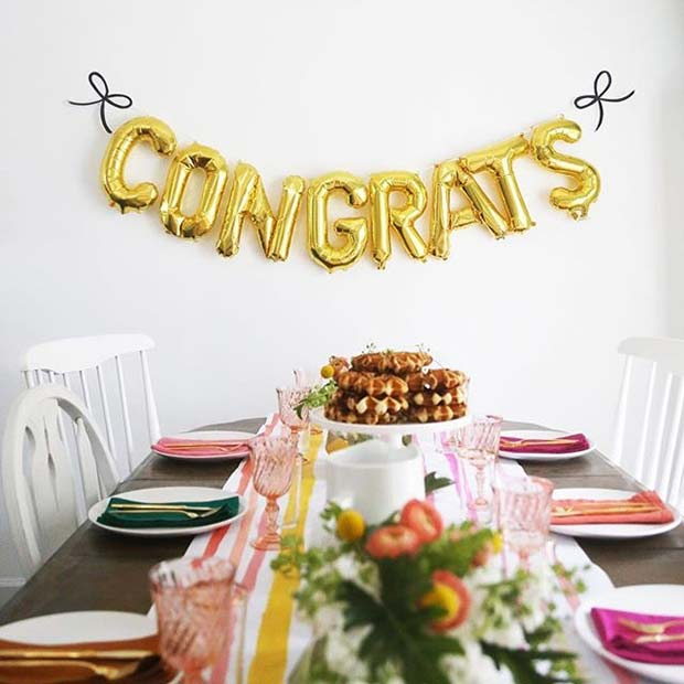 Congrats Balloon and Table Party Idea