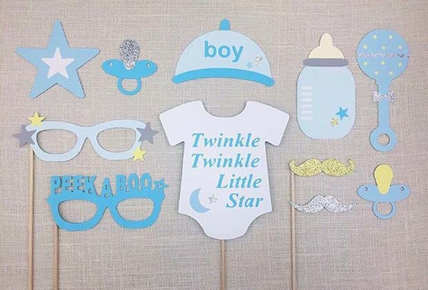 Cute Photo Booth Props for Boy's Baby Shower