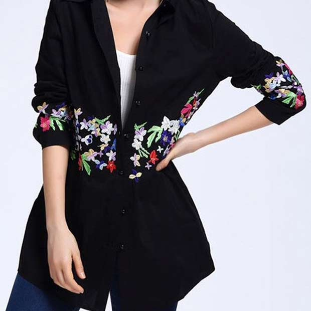 Black Blouse with Vibrant Embellished Flowers