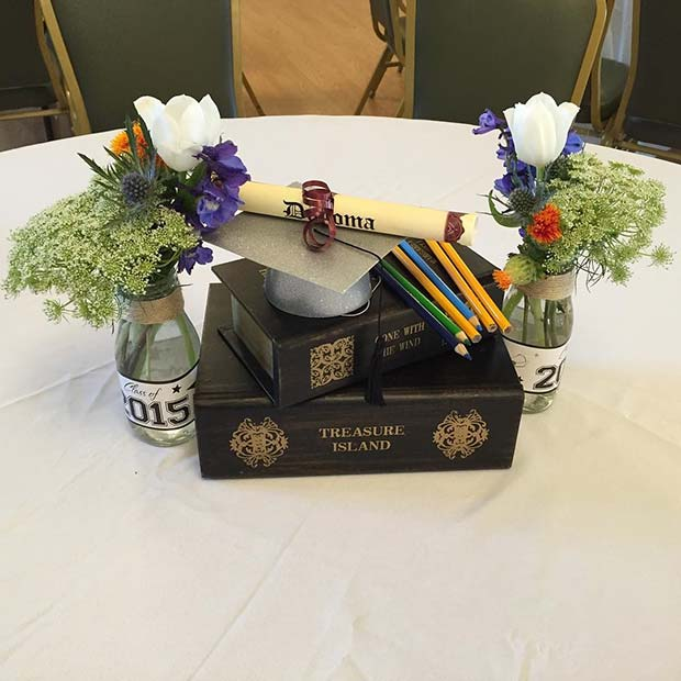 Diploma and Grad Cap Centerpiece Idea for Graduation Party