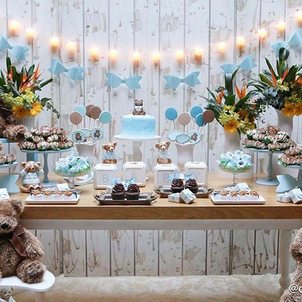 Decorated Cake and Buffet Table for Boy's Baby Shower