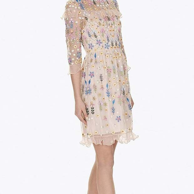 Pretty Embroidered Flower Dress