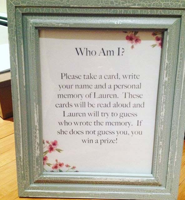 Memory Game Idea for Bridal Showe