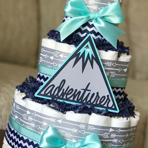 21 cool and creative ideas for a boys baby shower stayglam adventure theme diaper cake for boys baby shower negle Images