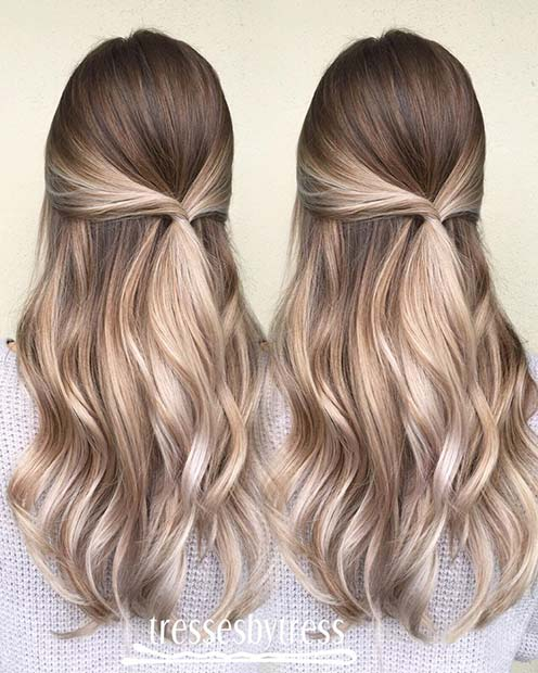Brown to Blonde Balayage Hair Color Idea
