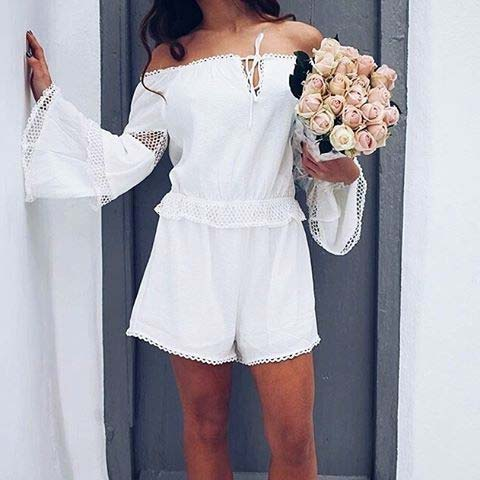 White Romper for Summer 2018 Outfit Idea