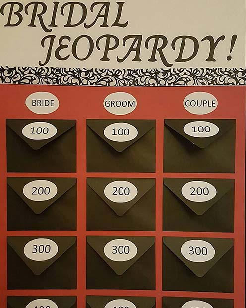 Bridal Jeopardy Game Show Idea for Bridal Shower