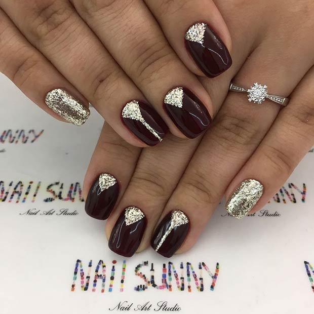 Burgundy Glitter Nail Idea for Short Nails
