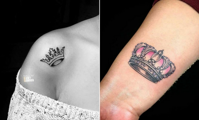 23 creative crown tattoo ideas for women stayglam. Black Bedroom Furniture Sets. Home Design Ideas