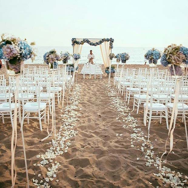 Floral Wedding Aisle Idea for Beach Wedding