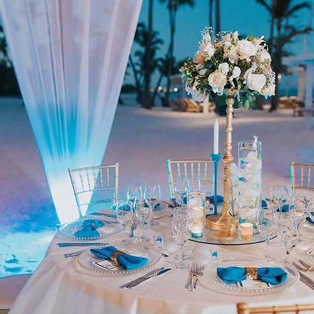 Elegant Blue Reception Idea for Beach Wedding