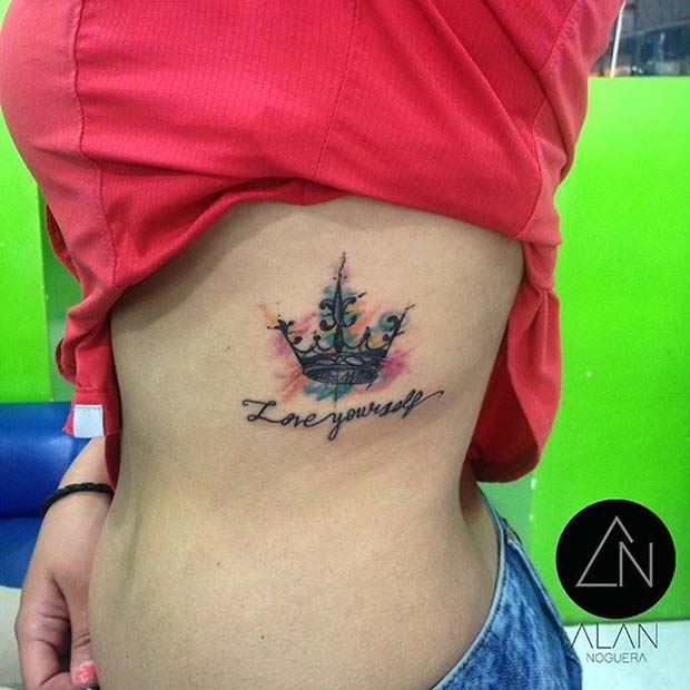 Water Color Ink Crown Tattoo Idea for Women
