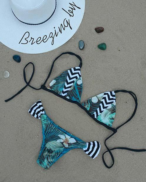 Tropical Print Bikini Bathing Suit for Summer 2017