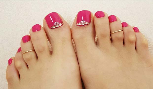 Dark Pink Pedicure with Gems for Wedding Pedicure Idea for Brides