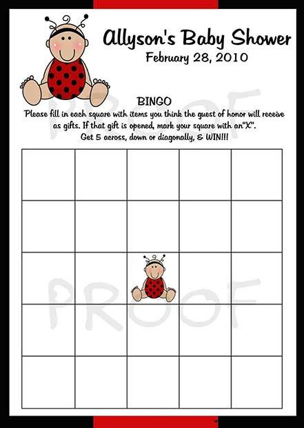 Baby Shower Bingo Game Idea