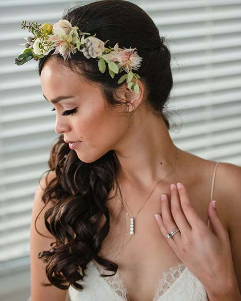Wedding Flowers Crown For Fine Hairstyle: 23 Gorgeous Half Up Wedding Hair Ideas