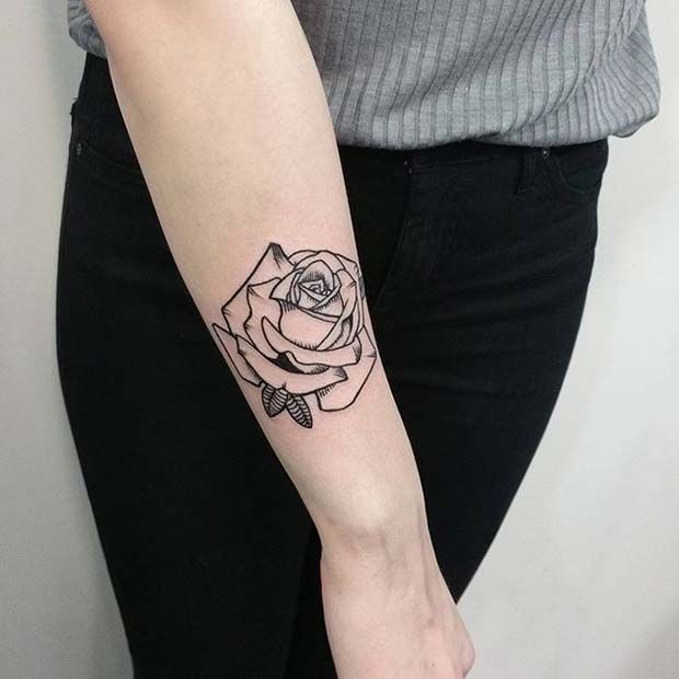 Black Ink Rose Tattoo On Girl Right Hip: 21 Beautiful Rose Tattoo Ideas For Women