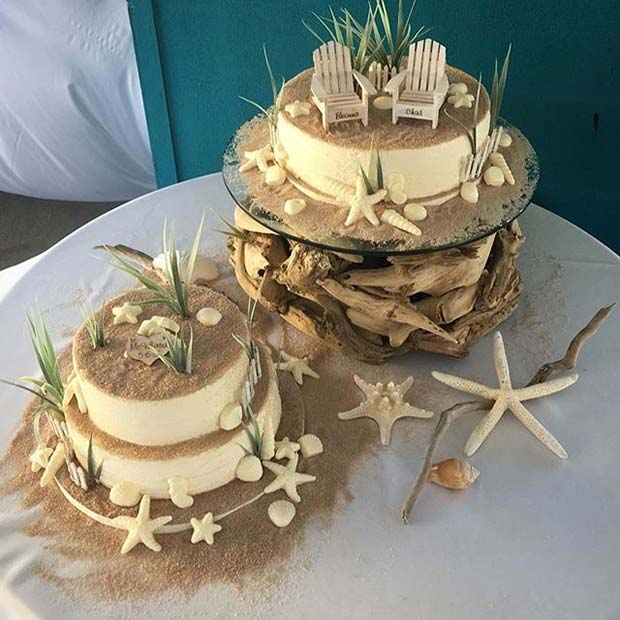 Beach and Sand Theme Wedding Cake Idea for Beach Wedding