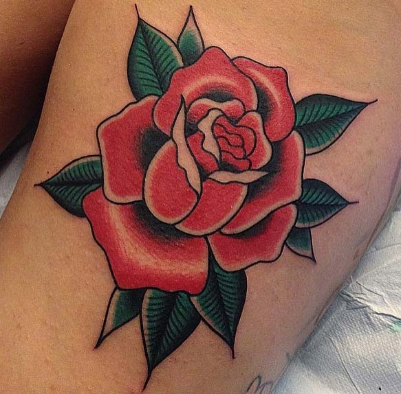 Traditional Red Rose Tattoo Idea