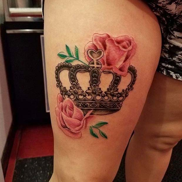 Rose and Crown Thigh Design for Crown Tattoo Idea for Women