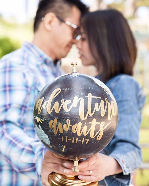 Globe Adventure Awaits Photo for Romantic Engagement Photo Idea