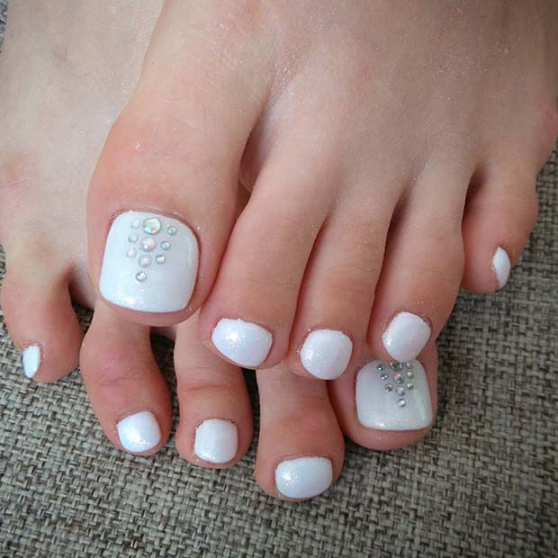 White Pedicure with Gems for a Wedding Pedicure Idea for Brides