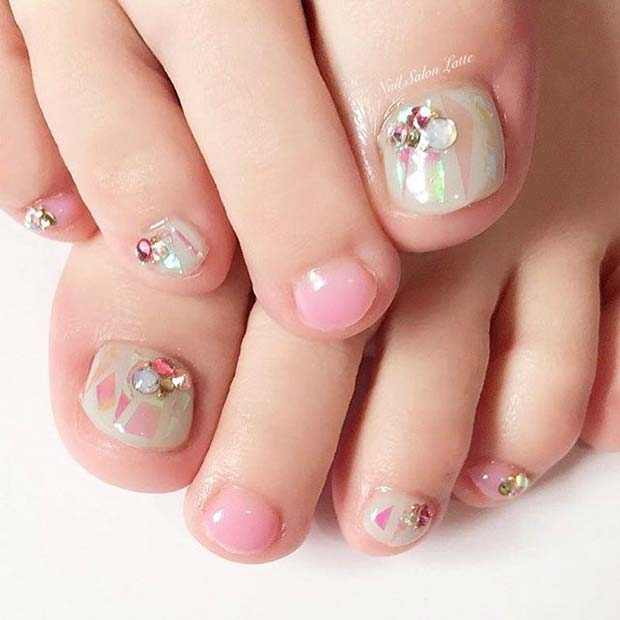 Multi Color Pink Pretty Pedicure with Gems for Wedding Pedicure Idea for Brides