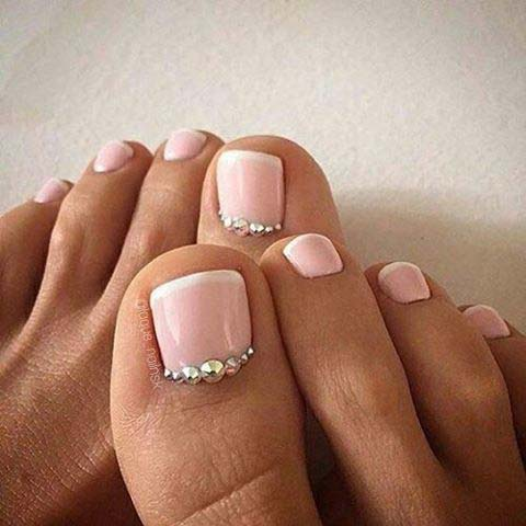 Pink French Pedicure with Silver Gems for Wedding Pedicure Idea for Brides