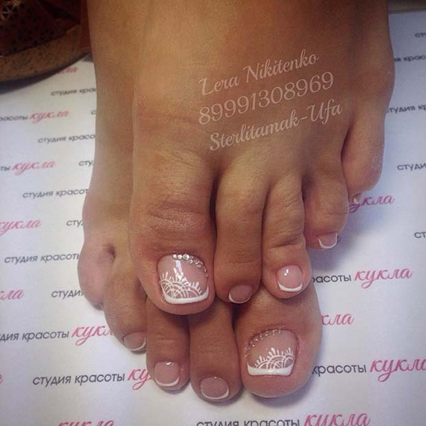 French Pedicure with Elegant Accent Nail for Wedding Pedicure Idea for Brides