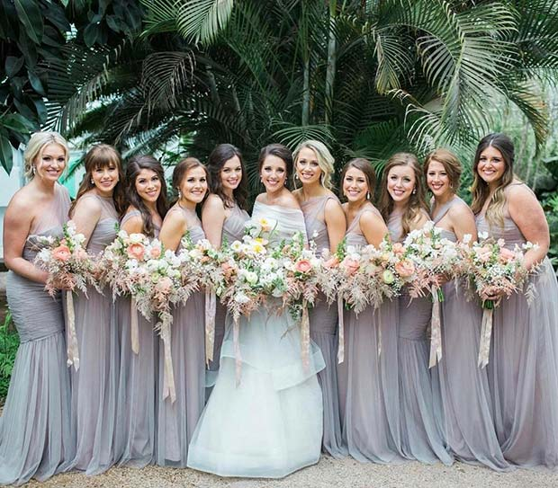Long, Elegant and Floaty Bridesmaids Dress Idea for Beach Wedding