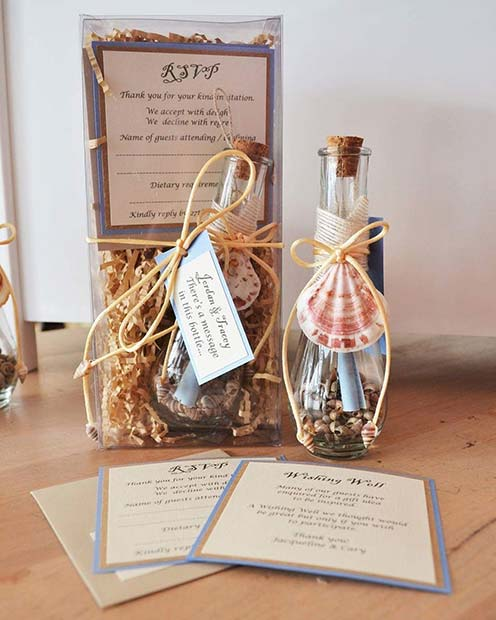 Beach Theme Message in a Bottle Invitation Ideas for a Beach Wedding