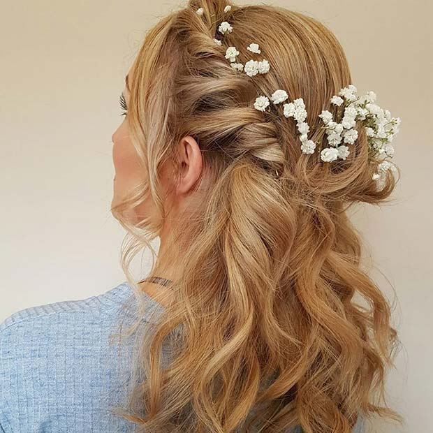 23 gorgeous half up wedding hair ideas stayglam floral twisted half up hair with waves wedding hair idea junglespirit Gallery