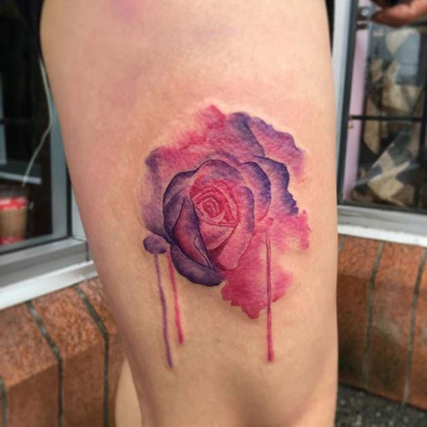Pink and Purple Watercolor Rose Tattoo Idea