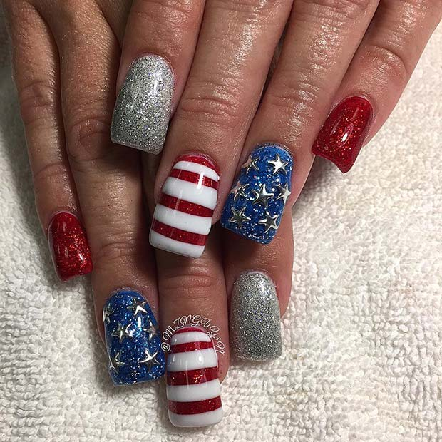 27 Funky Nail Art Designs Ideas: 10 Funky And Fun 4th Of July Nail Designs