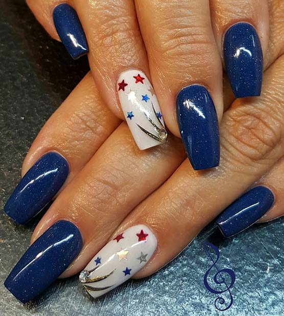 21 funky and fun 4th of july nail designs stayglam dark blue long nails with star accent nail for 4th july nail design idea prinsesfo Choice Image