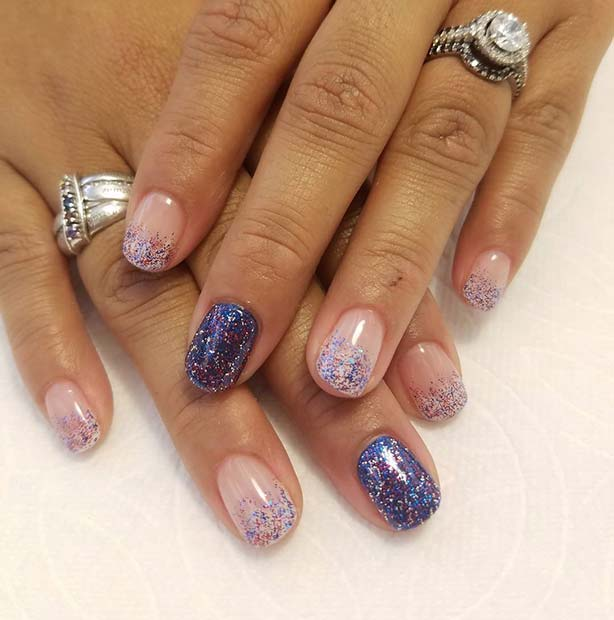 Cute Red, White and Blue Glitter Nails for 4th July Nail Design Idea