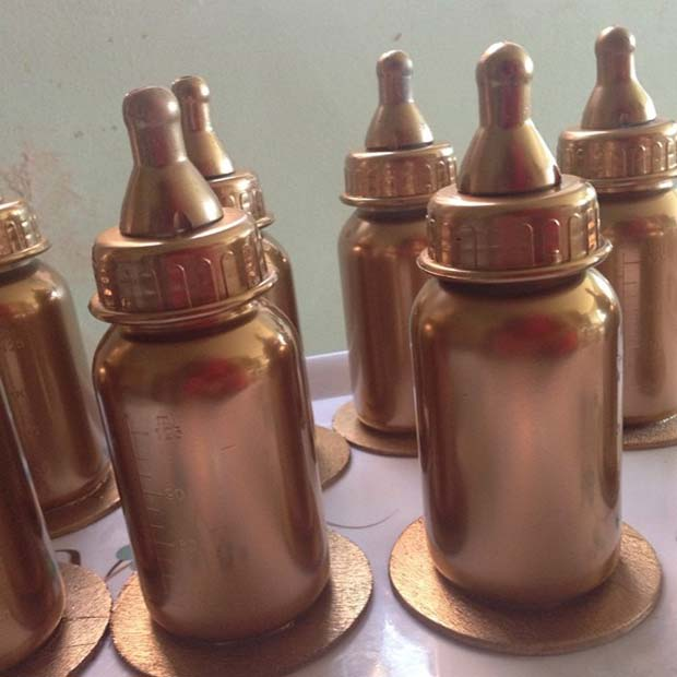 Gold Baby Bottle Trophy Prize Idea for Baby Shower