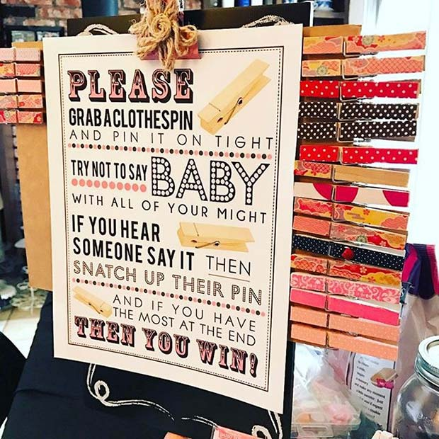 Don't Say Baby Game for Baby Shower