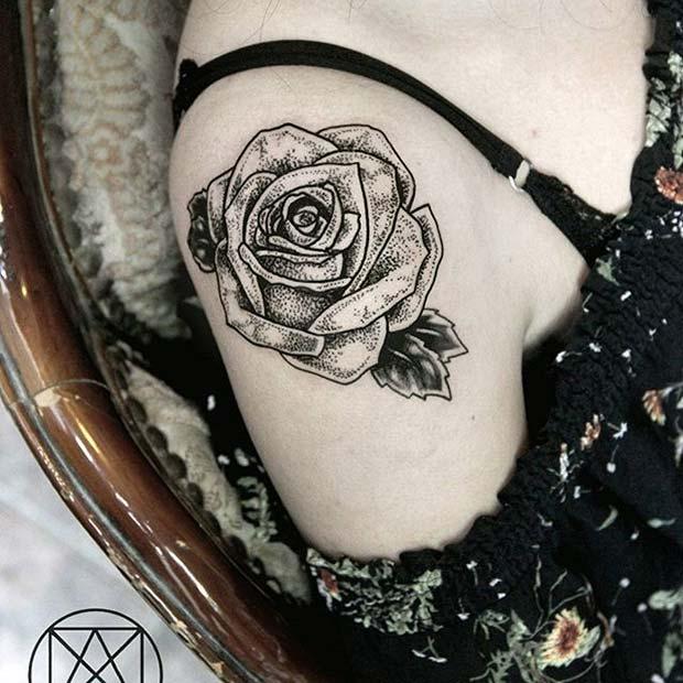 Black Ink Single Rose Shoulder Tattoo Idea