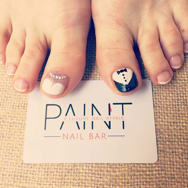 Bride and Groom Nail Art for a Wedding Pedicure Idea for Brides