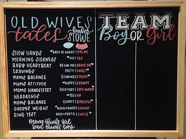 Old Wives Tales Baby Shower Game Idea