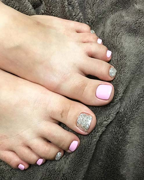 Pink and Glitter Pedicure for a Wedding Pedicure Idea for Brides
